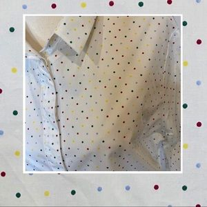 Oxford women's long sleeved collared blouse dots
